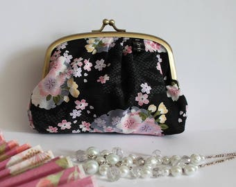 Black pink & blue metal frame coin purse - Mina