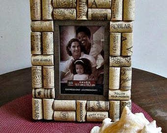 "ON SALE Rustic Brown Wine Cork Picture Frame - 4"" x 6"" Photo Opening - Wedding, Vacation, Birthday, Anniversary, Family"
