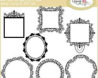 65%OFF SALE Digital frames clip art, digital lace frames, lace clip art, digital photo frames, digital label frame, scrapbooking frames, F6