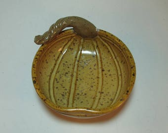 Pumpkin Harvest Serving Bowl Candy Dish with Stem - In Stock - Hand made