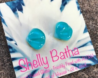 Blue Jade Vine Sterling Silver Earrings Shelly Batha Island Fused Glass Hawaii