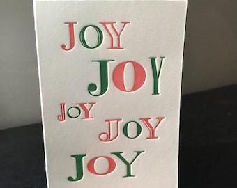 Letterpress A1/4bar Joy Holiday Card