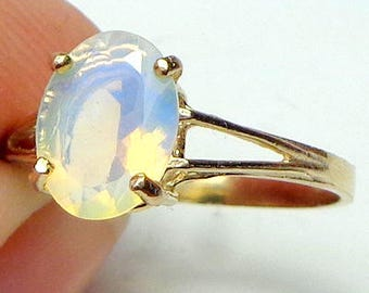 Size 7, Solid 10k Yellow Gold Ring, Ethiopian Welo Opal Ring, Semi-Transparent Color Play Stone, Yellow, Lavender, Blue, Green, Peach Fire