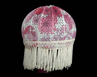 Rose red pink & cream floral lampshade with fringe ~ boudoir bedroom living room lamp table floor ~ romantic pretty to dress your room