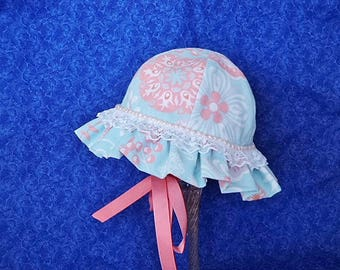 Pastel Baby Sun Hat Mint Green and Peach