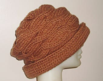 Cable Knit Hat Womens Hat Winter, With Brim, Cloche, Fedora Cinnamon Brown Hat Women Gift for Woman Hat