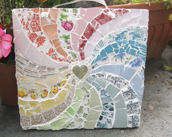 Shabby chic mosaic rainbow plaque - Free post to the UK!