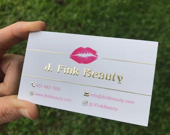 Thick Gold Foil Business Cards | Beauty Entrepreneur, Boudoir Photography, Makeup Artist, Hairstylist, Girl Boss, Real Estate Agent, Blogger