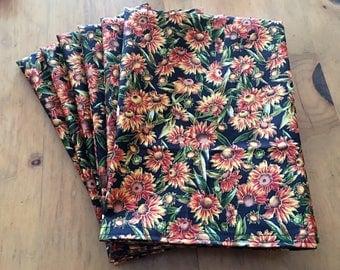 Autumn Daisies Yellow Orange Fall Reusable Cloth Napkins Set of 6 Double Sided 100% Cotton Eco Friendly Large 20 x 20