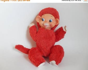 SALE - Mid Century Baby's Nursery Monkey Red Stuffed Animal Toy