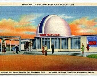 Elgin Watch Company Building New York World's Fair 1939c postcard