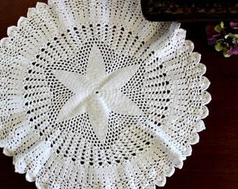 White Doily, Hand Crocheted, Large Crochet Centerpiece 14120