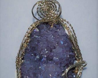 Purple Druzy Pendant and Necklace