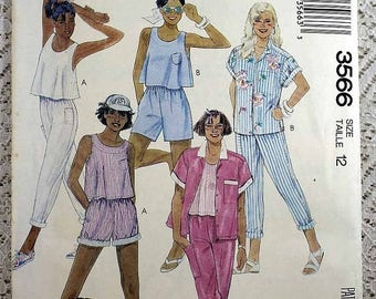 ON SALE McCall's 3566, Misses' Shirt, Top, Pants and Shorts Sewing Pattern, Camp Beverly Hills Pattern, Misses' Size 12, Uncut