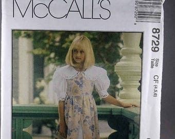 ON SALE McCall's 8729, Children's Dress and Petticoat Sewing Pattern, Memories by Jo Lene Pattern, Sizes 4, 5, 6, Uncut