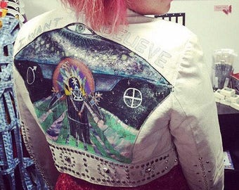 I WANT TO BELIEVE  painted white leather jacket