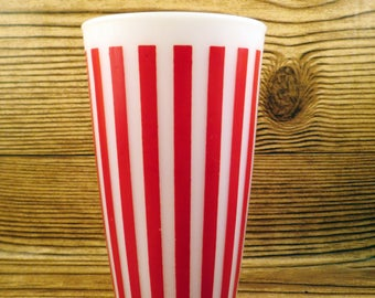 Red White Striped Drinking Hazel Atlas Tumbler Glass Milk Vintage Retro  Stripe Candy