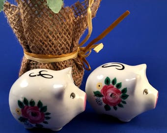 Vintage Ceramic Pigs Pepper Shakers Japan Retro with Roses Small