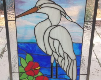 Egret in Stained Glass