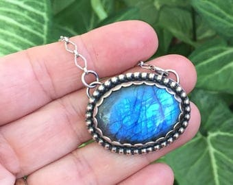 Big Labradorite Medallion Necklace, Sterling Silver, Labradorite jewelry