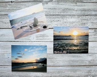 Ocean Photography- St. Thomas Virgin Islands, Set of 3 Sunrise Photo Prints, dreamy wall art, Sapphire Beach, peaceful coastal decor, waves
