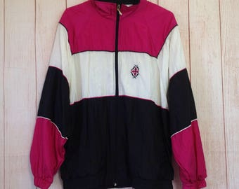 Vintage 90s Pink Black Zip Up Preppy Sporty Hipster Windbreaker Jacket Ladies L