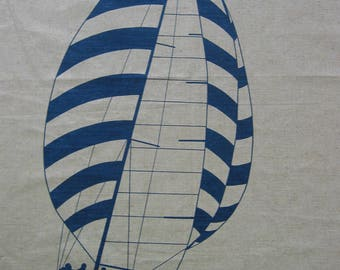 NOS Hand-Printed Screen Marushka Fabric Sailboat Design Large Unstretched