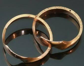 Victorian gold wedding ring 18k rose gold secret double ring large antique ring
