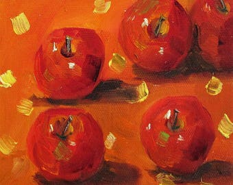 Red Apples still life daily oil painting 6x6 Art by Delilah