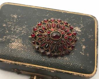 Antique Victorian Garnet Brooch in Gold Tone