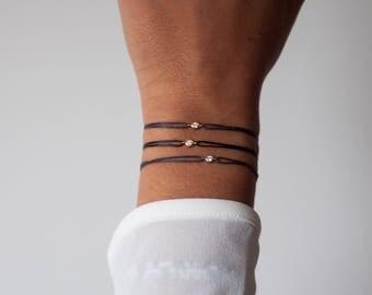 Diamond Bracelet in 14k solid gold bracelet, diamond solitaire bracelet