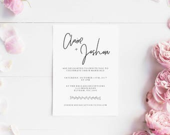 Wedding invitations set printable - Wedding invitation minimal - Printable wedding invites set - Digital invitations - minimalistic invites