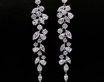 Wedding jewelry bridal party prom christmas gift multi shape cluster AAA cubic zirconia post drop earrings vine rhodium bold statement post