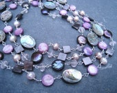 Abalone, Freshwater Pearl, Rose Quartz, and Mother of Pearl  Sterling Silver Long layering gemstone necklace purple pink gray wrapped gems