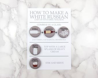 White Russian Cocktail Recipe Magnet Set by Megan McCrary