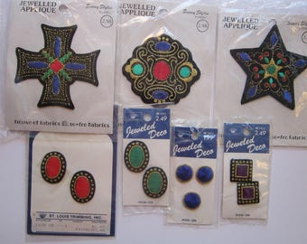 12 vintage embroidered appliques, patches - 7 packages, jewel tones - St Louis Trimmings  and Sunny Styles - vintage notions