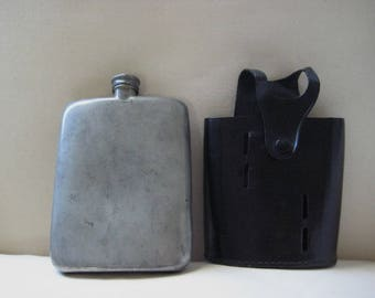 Vintage Greatrex English Pewter personal Whiskey Flask with leather case-very good-sale