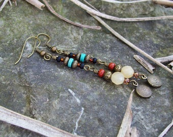 Tribal Bohemian dangle beaded Earrings, Linear Drop Earrings, Calcite gemstone, Hippie beaded dangles