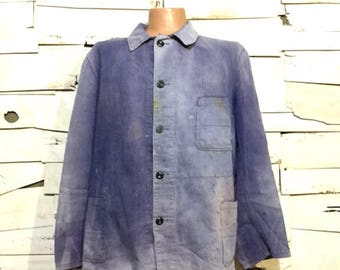 Vintage European Blue Cotton Button Up Distressed / Weathered Chore Coat (os-ewj-5)