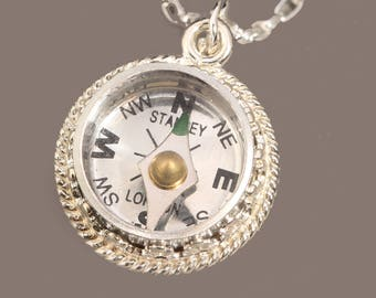 Sterling Silver Compass Necklace Sterling Compass Necklace Working Compass Necklace Silver Compass Necklace