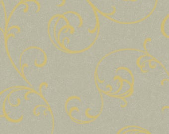 NN4018 Brushed Silver/Gold Graphic Scroll Wallpaper