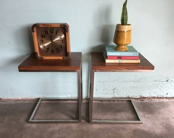 MID CENTURY MODERN Style Pair of Faux Wood and Chrome Cantilevered Tables  (Los Angeles)