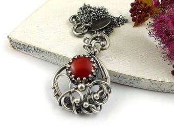 Red coral necklace, wire wrapped jewelry, small pendant, sterling silver jewelry