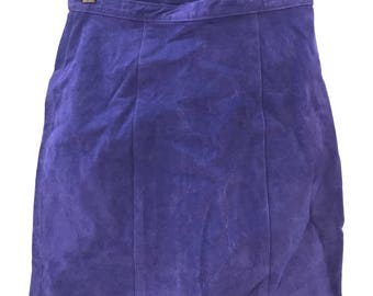 Dark Purple Suede High Waisted Pencil Skirt Woman's Small
