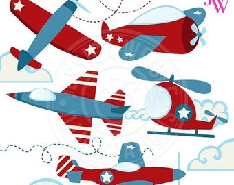 SALE Patriotic Planes Cute Digital Clipart - Airplane Clip Art - Airplane Graphics - Images of Planes - Red Airplane - Jet Plane - Helicopte