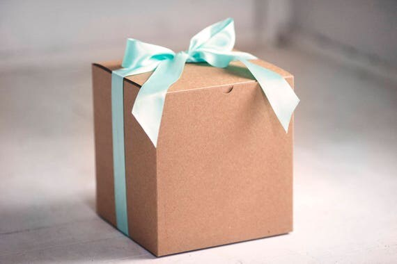 Set of 5 - 8x8x8.5 inch Kraft Gift Boxes -  Great for balloon announcements!!!