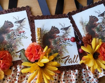 Fall ornaments squirrels vintage card scraps paper tag ornaments woodland tags fall home decor thanksgiving
