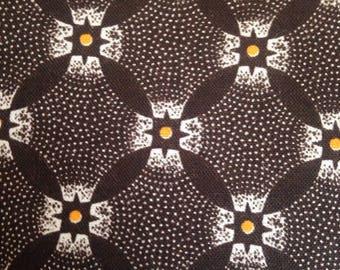 Vintage Retro Brown Fabric Cotton Quilting Geometric