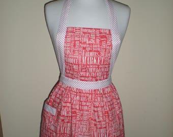 Candy striper style apron with market farmer organic word print contrasting polka dot straps Cotton fabric Australian handmade