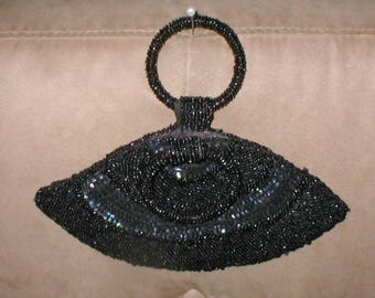 Vintage 1940's Black Beaded Evening Purse